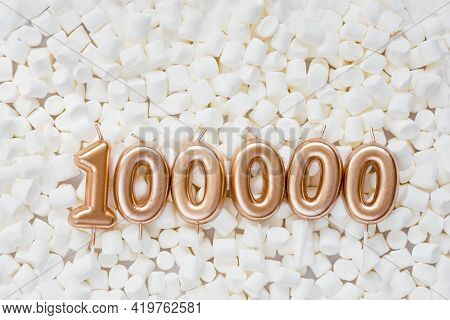 100000 Followers Card. Template For Social Networks, Blogs. Background With White Marshmallows. Soci