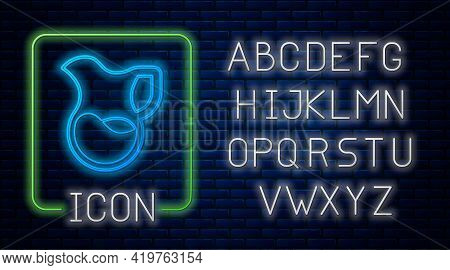 Glowing Neon Jug Glass With Milk Icon Isolated On Brick Wall Background. Kettle For Milk. Glass Deca