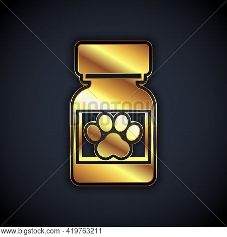 Gold Medicine Bottle And Pills Icon Isolated On Black Background. Container With Pills. Prescription