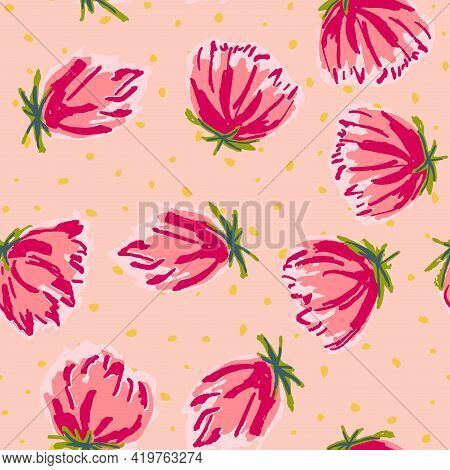 Red And Blue Blossom Drawn Vector Seamless