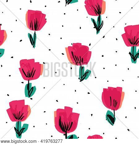 Red Lotus Drawn Vector Seamless Pattern. Peony
