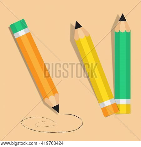 Pencils Icon On A Color Background. Сomposition Of Pencils. Vector Illustration