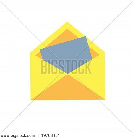 Open Yellow Envelope With Paper. Delivery Of Correspondence Or Office Documents. Vector Illustration