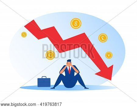 Businessman Sit Stress Down Arrow Chart Graph And Bankrupt Finance Fall Vector Illustrator
