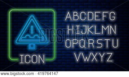 Glowing Neon Uneven Road Ahead Sign. Warning Road Icon Isolated On Brick Wall Background. Traffic Ru