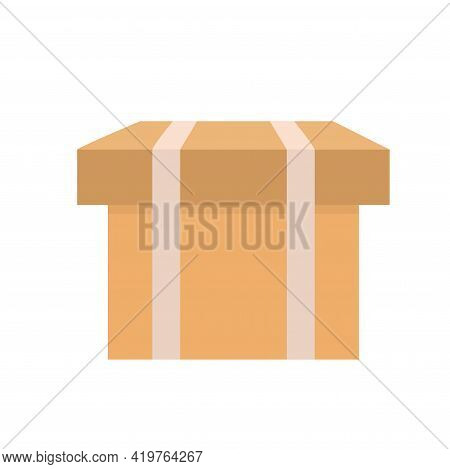 Cardboard Box. Flat Style Warehouse Cardboard Parcel Box Stack Front View. Isolated Box On White Bac