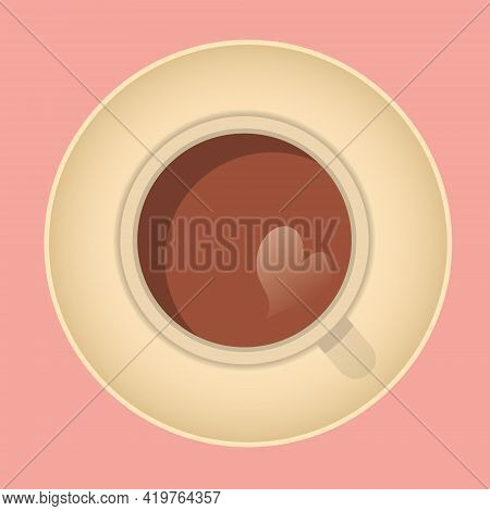 Cup Of Fresh Coffee With Prediction Of Love. Top View. Vector Illustration. Flat Style. Decorative D