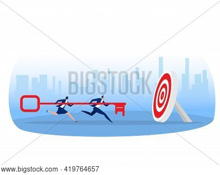 Business Team Carries Huge Key To Goal Concept. Working Together Team Achievement,metaphor Is Key To