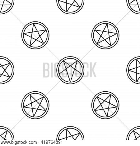 Grey Line Pentagram In A Circle Icon Isolated Seamless Pattern On White Background. Magic Occult Sta