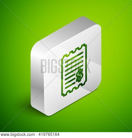 Isometric Line Paper Check And Financial Check Icon Isolated On Green Background. Paper Print Check,