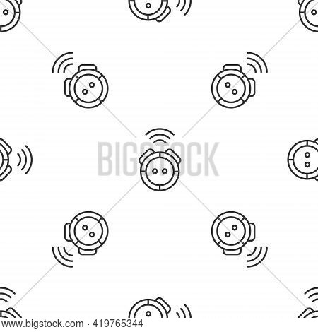 Grey Line Robot Vacuum Cleaner Icon Isolated Seamless Pattern On White Background. Home Smart Applia