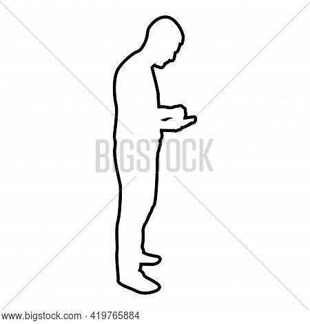 Man Holding Smartphone Phone Playing Tablet Male Using Communication Tool Idea Looking Phone Addicti