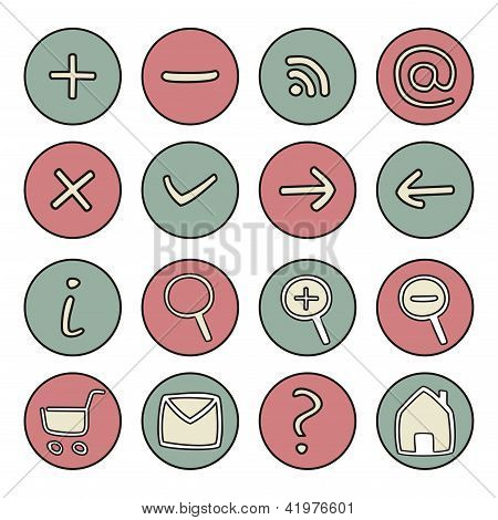 Vector icons buttons - doodle arrow, home, rss, search, mail, ask, plus, minus, shop, back, forward