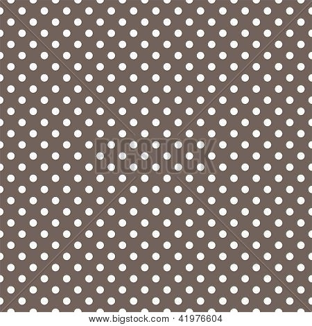 Seamless vector pattern with white polka dots on a dark brown background.