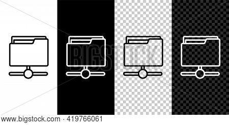 Set Line Ftp Folder Icon Isolated On Black And White Background. Software Update, Transfer Protocol,