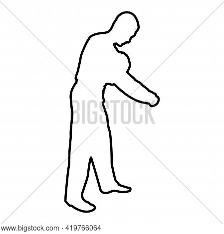 Man Dressing Sweater Clothes Concept Put On His Pullover Contour Outline Black Color Vector Illustra