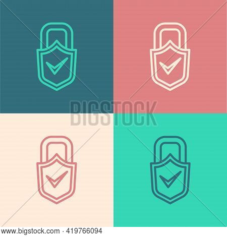 Pop Art Line Open Padlock And Check Mark Icon Isolated On Color Background. Cyber Security Concept.