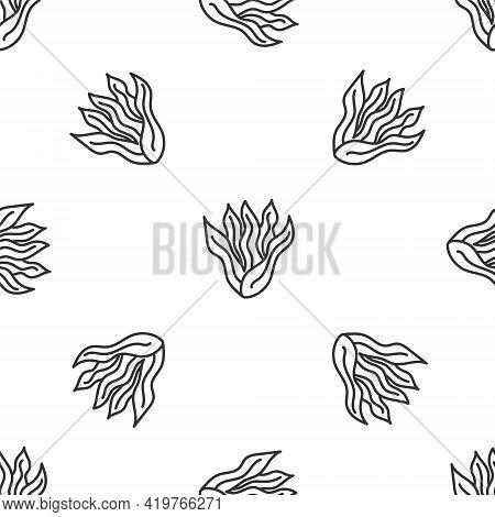Grey Line Seaweed Icon Isolated Seamless Pattern On White Background. Underwater Seaweed Spirulina,