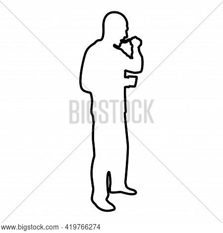 Man Trying Food From Spoon Standing Tasting Concept Gourmet Tries Dish Chef Trying Contour Outline B