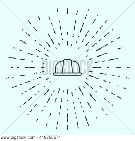 Black Line Worker Safety Helmet Icon Isolated On Grey Background. Insurance Concept. Security, Safet