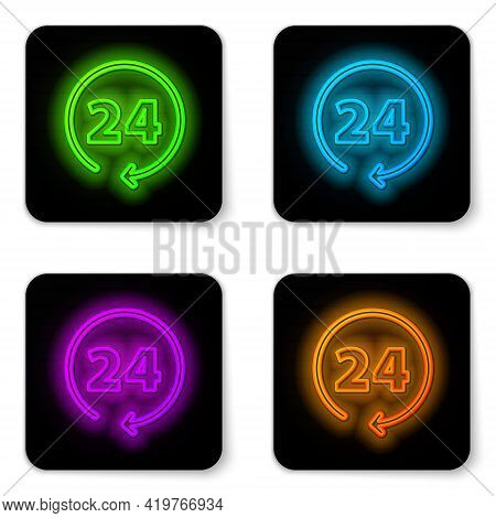 Glowing Neon Line Clock 24 Hours Icon Isolated On White Background. All Day Cyclic Icon. 24 Hours Se
