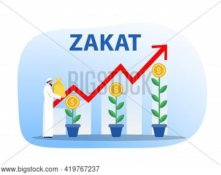 Muslim People Holding Money Bag For Pay Zakat With Growth Donation Zakat Target Concept Illustrator