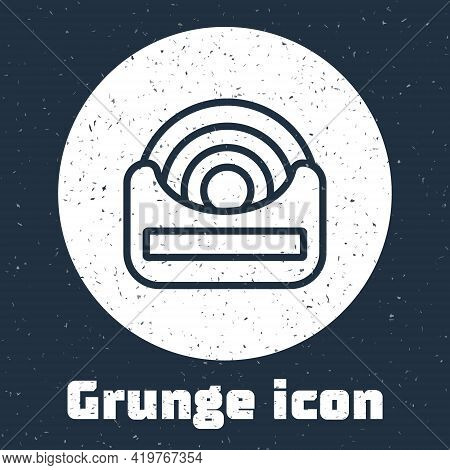 Grunge Line Dental Floss Icon Isolated On Grey Background. Monochrome Vintage Drawing. Vector