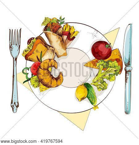 Healthy Vegetables And Unhealthy Sandwich French Fries Croissant And Roll On Food Plate With Knife A