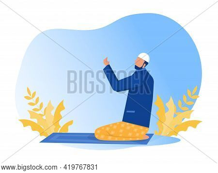 Religious Muslim Prayer Prayer In Traditional Clothes Full Length Vertical Vector