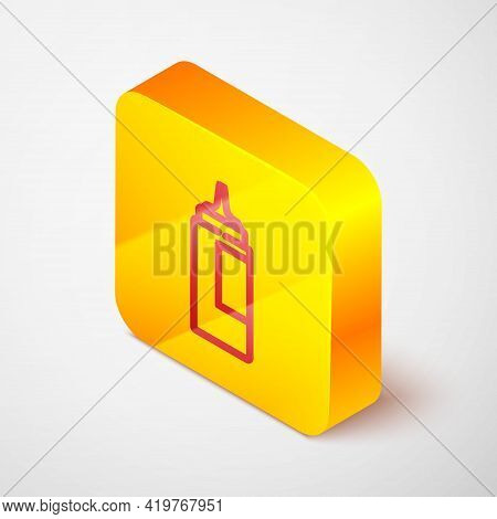 Isometric Line Sauce Bottle Icon Isolated On Grey Background. Ketchup, Mustard And Mayonnaise Bottle