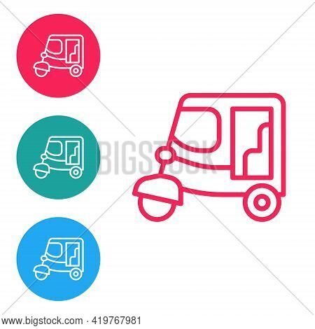 Red Line Taxi Tuk Tuk Icon Isolated On White Background. Indian Auto Rickshaw Concept. Delhi Auto. S