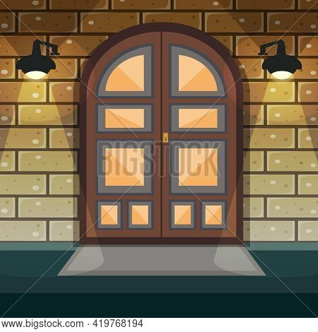 Classic Doorway Brickwall House Facade With Home Entrance Door And Lights Vector Illustration
