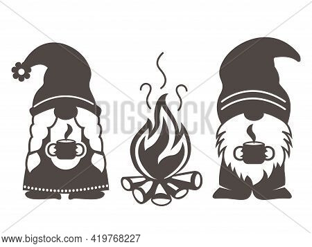 Camping Gnome Vector. Cute Scandinavian Gnomes With Camping In Cartoon Style.
