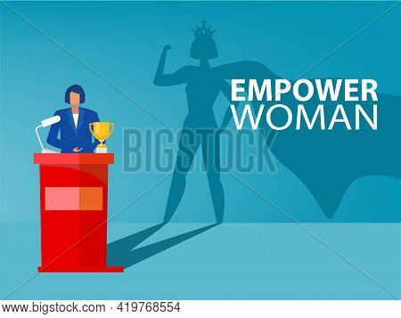 Businesswoman Dream His Shadow With Empower Women About Victory,success, Leadership Career Concept V