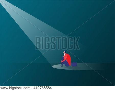 Businessman Sitting Sad Or People's Tendency To Assume Their Mistakes, The Spotlight Effect Is A Psy