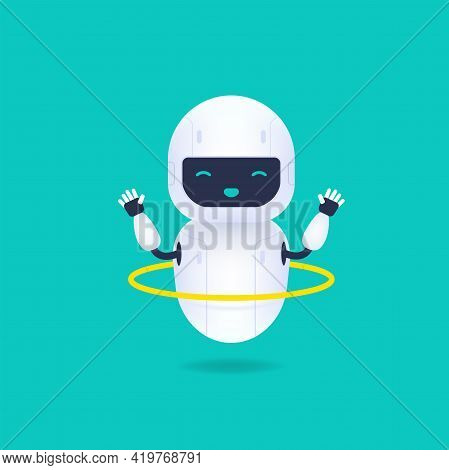 White Friendly Robot Character. Cute And Smile Ai Robot Twirling A Hoop.