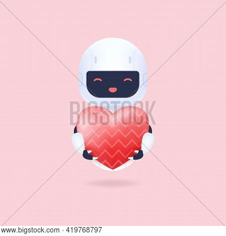 White Friendly Robot Holding A Heart Balloon.