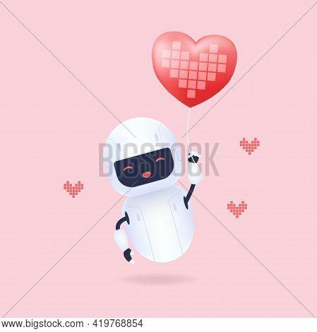 White Friendly Robot Holding Heart Shape Balloon.