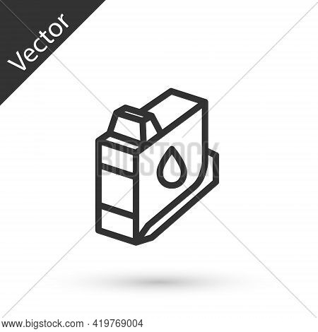 Grey Line Printer Ink Cartridge Icon Isolated On White Background. Vector