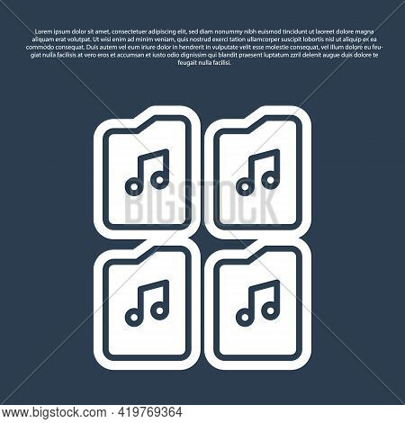 Blue Line Music File Document Icon Isolated On Blue Background. Waveform Audio File Format For Digit