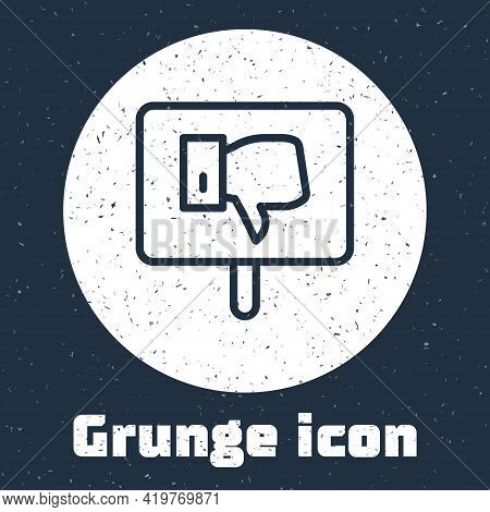 Grunge Line Protest Icon Isolated On Grey Background. Meeting, Protester, Picket, Speech, Banner, Pr