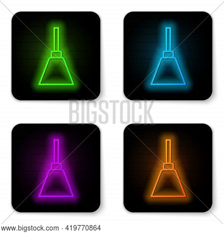 Glowing Neon Line Chandelier Icon Isolated On White Background. Black Square Button. Vector