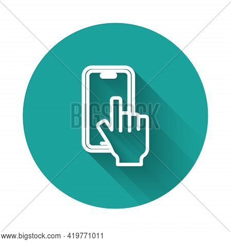 White Line Phone Repair Service Icon Isolated With Long Shadow Background. Adjusting, Service, Setti