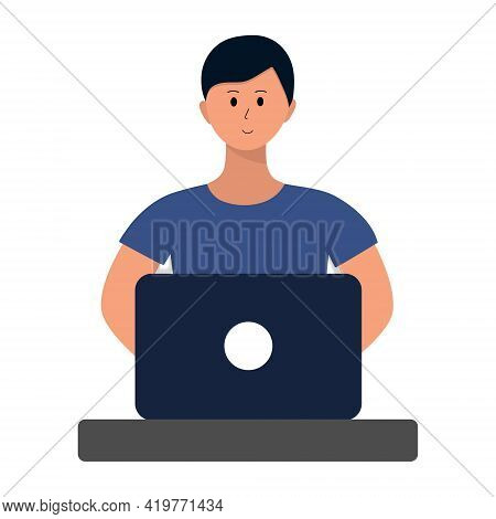 Man Working On Laptop. Clerk Or Employee Sitting At Desk With Computer. Concept Illustration, Workin
