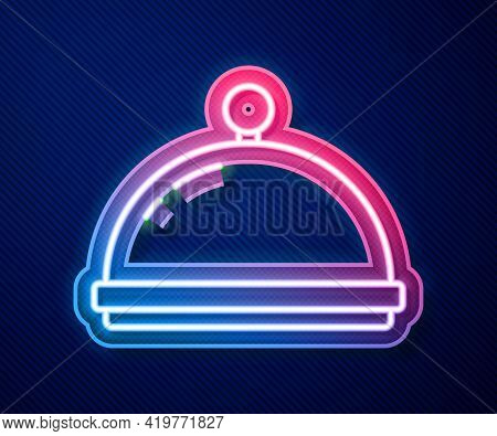 Glowing Neon Line Covered With A Tray Of Food Icon Isolated On Blue Background. Tray And Lid Sign. R