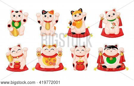 Japanese Collection Of Maneki Neko Cats In The Kartun Style. Traditional White Happy Cat Doll With G