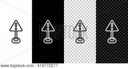 Set Line Exclamation Mark In Triangle Icon Isolated On Black And White, Transparent Background. Haza