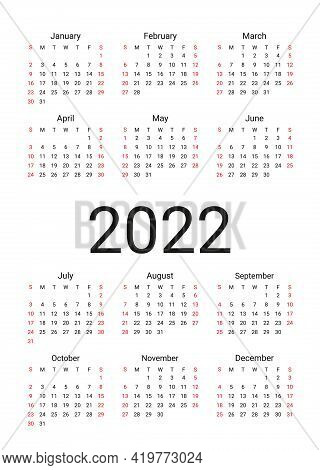 Calendar 20221 Year. Vector. Week Starts Sunday. Simple Template Of Pocket Or Wall Calenders. Yearly