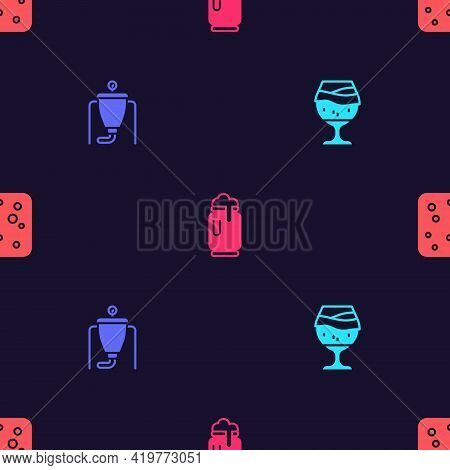Set Glass Of Beer, Beer Brewing Process, Can With Foam And Bubbles On Seamless Pattern. Vector