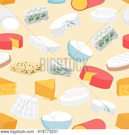Cheese Variety Flat Seamless Pattern With Cheddar Mozzarella Gouda Camembert Vector Illustration
